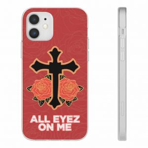 All Eyez On Me By 2Pac Shakur Cross & Rose Art iPhone 12 Case