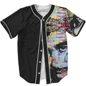 Gangsta Rapper Tupac Shakur Colorful Graffiti Art Baseball Jersey