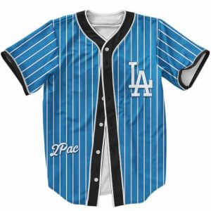 LA Dodgers Logo 2Pac Shakur Hip Hop Dope Blue Baseball Jersey
