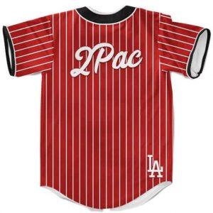 LA Dodgers Logo 2Pac Shakur Hip Hop Dope Red Baseball Jersey