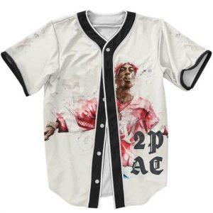 Paint Artwork Tupac Makaveli Shakur White Baseball Jersey