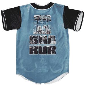 Rapper 2Pac Shakur West Coast Hip Hop Blue Baseball Jersey