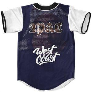 Song Lyrics Art Tupac Shakur West Coast Blue Baseball Jersey