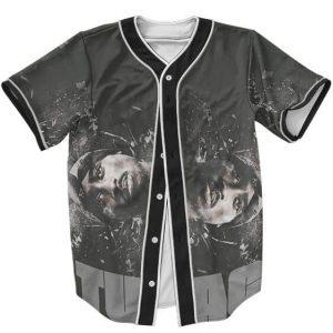 Tupac Makaveli Shakur Grunge Artwork Dope Gray Baseball Jersey