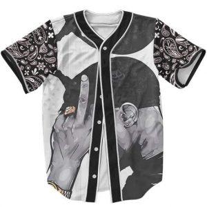 Tupac Makaveli Shakur Middle Finger Up Dope Baseball Jersey
