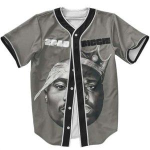 Tupac Shakur & Biggie Smalls Half Face Design Baseball Jersey