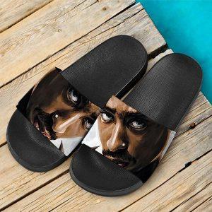 2Pac Amaru Shakur Serious Stare Painting Badass Slide Sandals