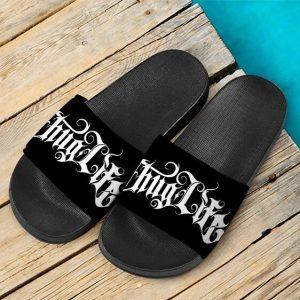 2Pac Amaru Shakur Thug Life Typography Badass Slide Sandals