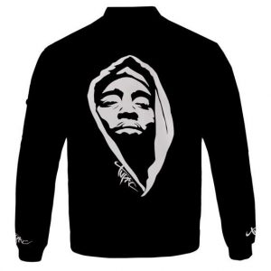 2Pac Face With Hoodie Silhouette Black Bomber Jacket