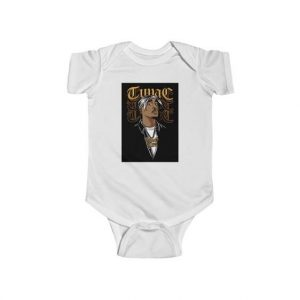 2Pac Makaveli Thug Life Gold Necklace Baby Toddler Bodysuit