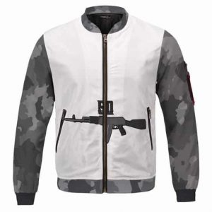 2Pac Middle Chest Tattoo Rifle Gun 50 Varsity Jacket
