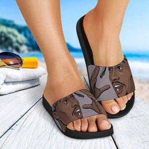 2Pac Shakur Cheerful Expression Art Cool Slide Sandals