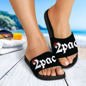 2Pac Shakur Signature Red Bandana Logo Black Slide Sandals