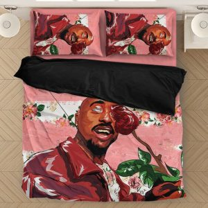 2pac Shakur Holding Rose Painting Style Awesome Bedding Set