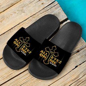 All Eyez On Me 2Pac Shakur Mixtape Black Gold Slide Sandals
