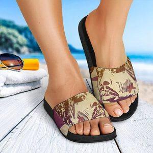 American Rapper Tupac Makaveli Drawing Art Slide Sandals