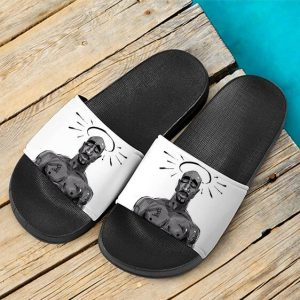 Angel Tupac Amaru Shakur Tribute Art White Slide Sandals