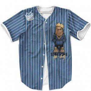 King Biggie Smalls The Notorious BIG Pinstripe Blue MLB Baseball Shirt