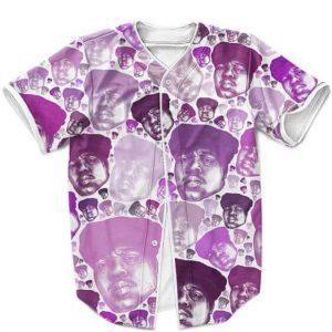 Biggie Smalls Bubble Head Pattern Purple Minimalist Baseball Uniform