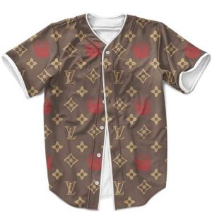 Biggie Smalls Louis Vuitton Inspired Pattern Brown Luxurious Baseball Jersey