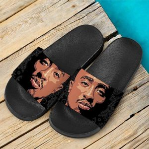 Gangsta Rapper Tupac Makaveli Bandana Pattern Slide Sandals