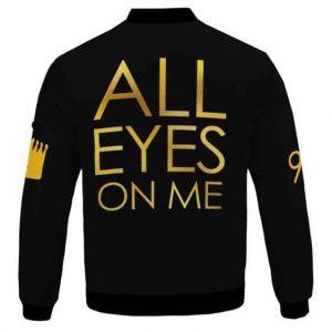 Gold All Eyes On Me Tupac Shakur Tribute Black Bomber Jacket
