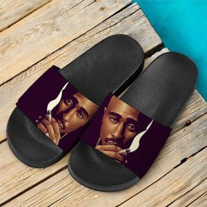Hip-Hop Rapper 2Pac Shakur Smoking Dope Slide Sandals