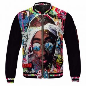 Makaveli Scribbled Face Art Multicolor 2Pac Varsity Jacket