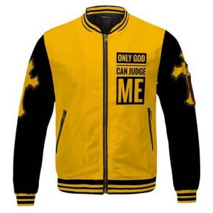 Only God Can Judge Me 2Pac Yellow And Black Varsity Jacket