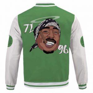 Rap Icon Smoking 2Pac Life Tribute Green Varsity Jacket