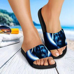 Rap Icon Tupac Makaveli Shakur Artwork Blue Slide Sandals