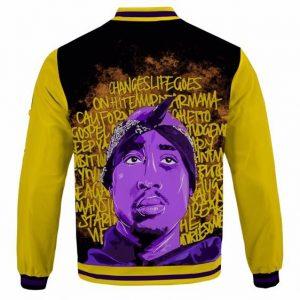 Rap Legend 2Pac Shakur Face with Song Lyrics Varsity Jacket