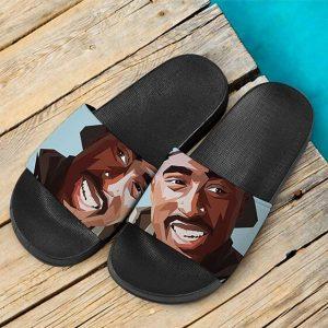 Rap Legend 2Pac Shakur Smiling Tribute Art Slide Sandals
