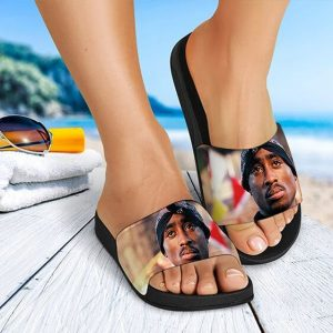 Realistic 2Pac Amaru Shakur Looking Up Awesome Slide Sandals