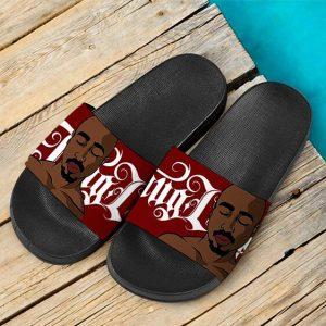Resting Tupac Shakur Tribute Art Thug Life Red Slide Sandals