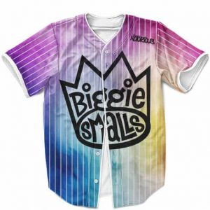The Notorious BIG Biggie Smalls Pinstripe Cool Rainbow Baseball Jersey
