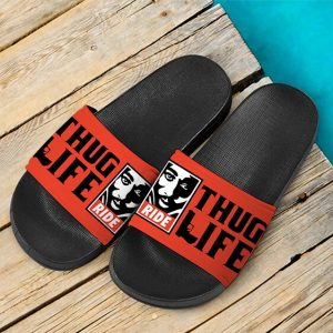 Thug Life 2Pac Makaveli Ride Or Die Badass Slide Sandals