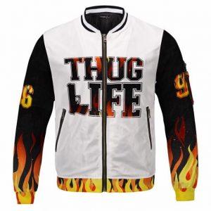 Thug Life Flaming Tribute to Tupac Shakur 96 Varsity Jacket