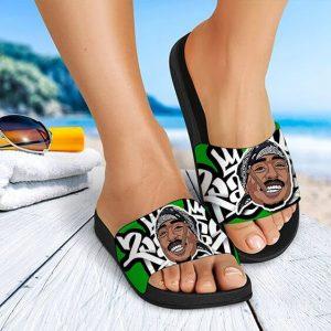 Thug Life Tupac Makaveli Shakur Smoking Amazing Slide Sandals