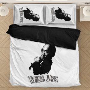 Tupac Amaru Shakur Thug Life Minimalist White Bedding Set