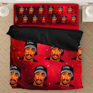 Tupac Amaru Shakur Thug Rapper Fantastic Red Bedding Set