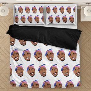 Tupac Makaveli Cute Bubbly Head Elegant Pattern Bedding Set