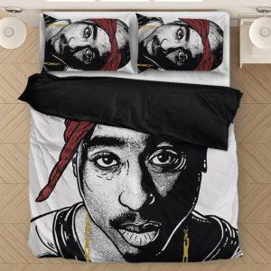 Tupac Makaveli Ink Style Design Artwork White Bedding Set