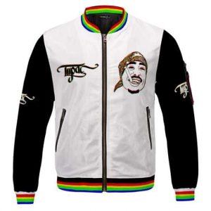 Tupac Makaveli Smoking Gangsta Trippy Effect Varsity Jacket