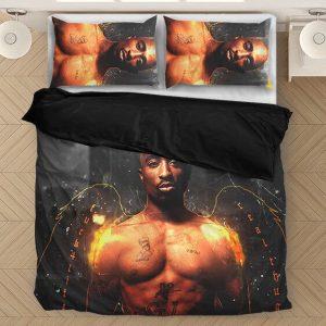 Tupac Makaveli Thug Life Angel Wings Dark Dope Bedding Set