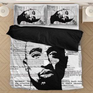 Tupac Makaveli Thug Life Newspaper Inked Art Dope Bedding Set
