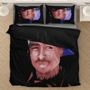 Tupac Makaveli Thug Minimalist Art Bomb Black Bedding Set