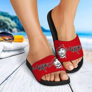Tupac Makaveli Wearing Bandana Cartoon Awesome Slide Sandals