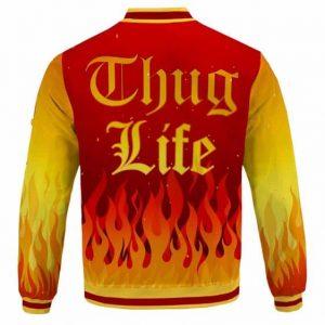 Tupac Shakur Face Logo Flame Pattern Thug Life Varsity Jacket