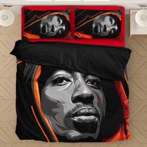 Tupac Shakur Wearing Hoodie Epic Red Orange Bedding Set